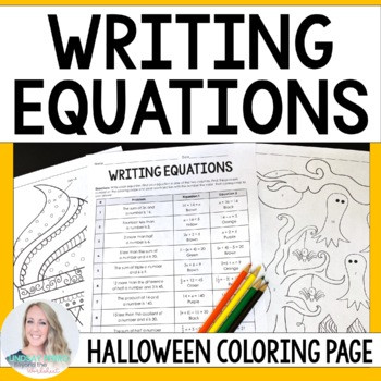 Writing Equations Practice Worksheet Writing Equations Coloring Worksheet Halloween theme