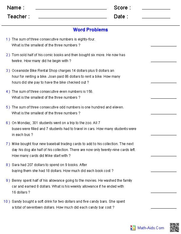 Writing Equations Practice Worksheet Writing Equations From Word Problems Worksheet In 2020