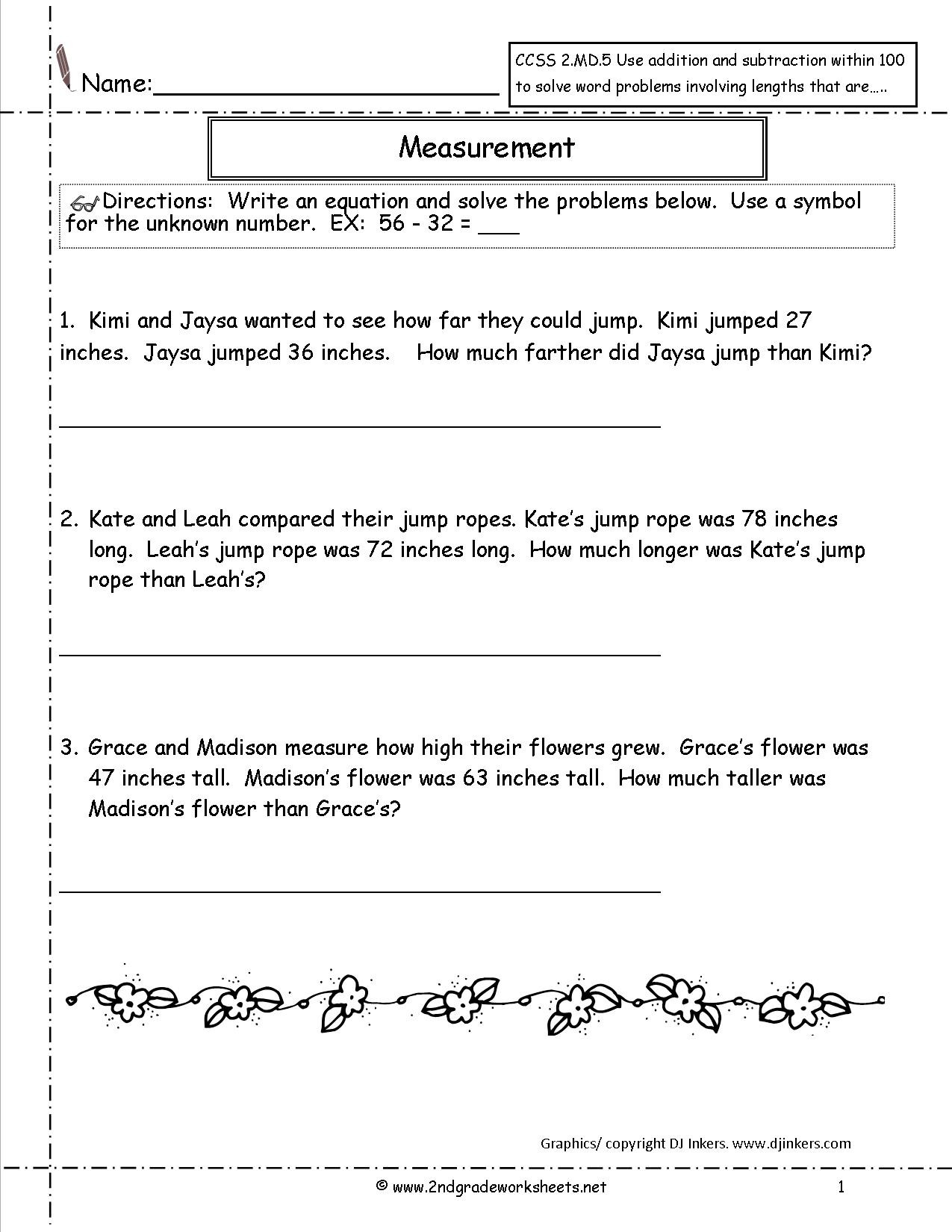 ccss md worksheets paring measurements ccss2md51a second grade measurement 2nd lesson plans activities word
