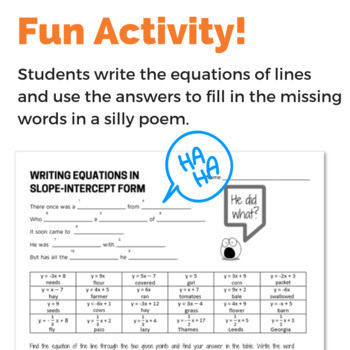 Writing Equations Using Symbols Worksheet Writing Equation Of Line In Slope Intercept form Given Two Points Fun Activity