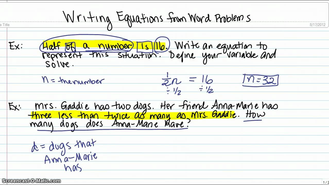 Writing Equations Using Symbols Worksheet Writing Expressions solutions Examples Videos