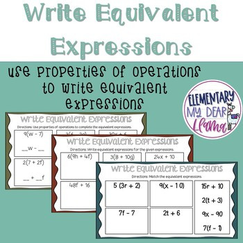 Writing Equivalent Expressions Worksheet Digital Write Equivalent Expressions