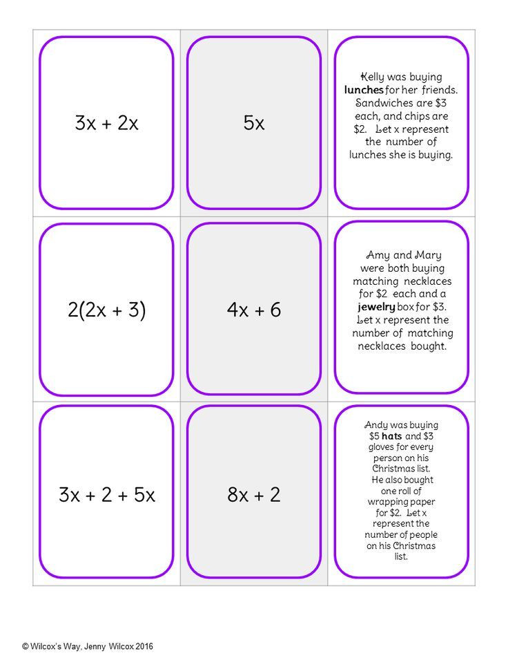 Writing Equivalent Expressions Worksheet Equivalent Expressions Matching Activity