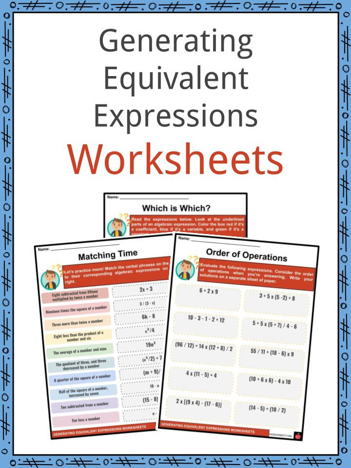 Writing Equivalent Expressions Worksheet Generating Equivalent Expressions Facts & Worksheets