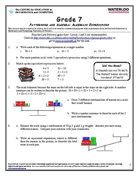 Writing Equivalent Expressions Worksheet Grade 7 Patterning and Algebra Algebraic Expressions