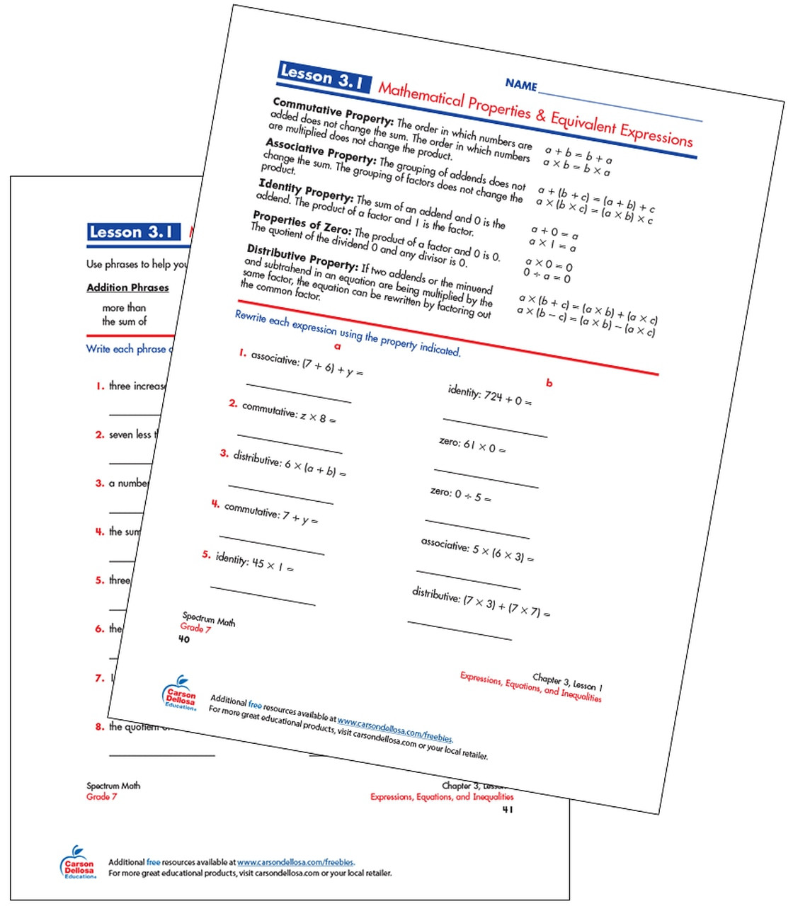 Writing Equivalent Expressions Worksheet Mathematical Properties & Equivalent Expressions Free