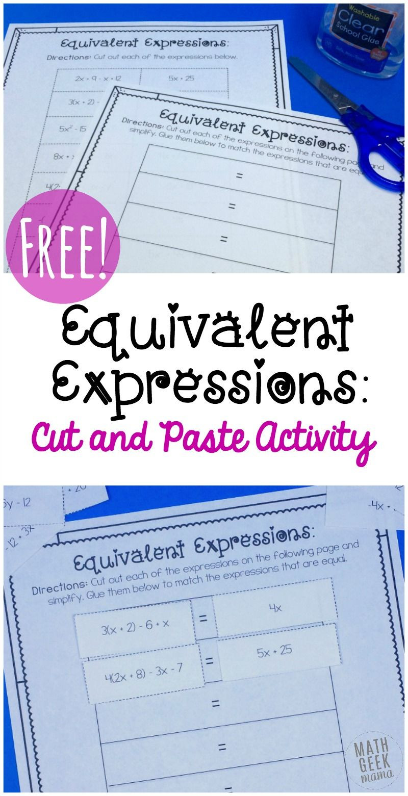 Writing Equivalent Expressions Worksheet Simple Equivalent Expressions Activity Free