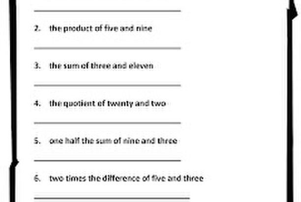 Writing Expressions Worksheet 5th Grade Numerical Expressions Worksheet Classroom Freebies too