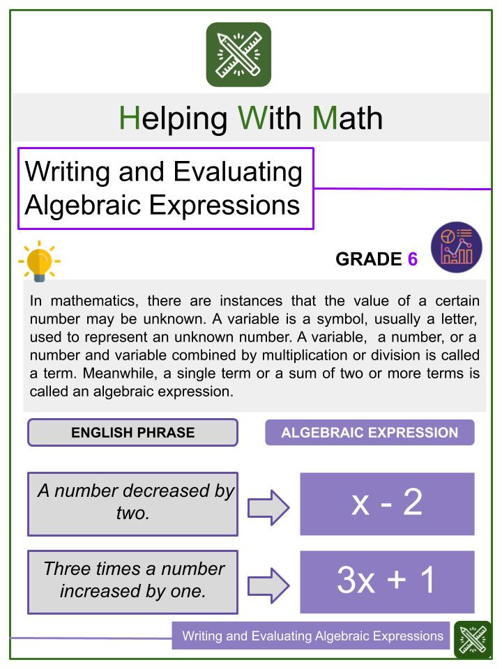 Writing and Evaluating Algebraic Expressions Worksheets