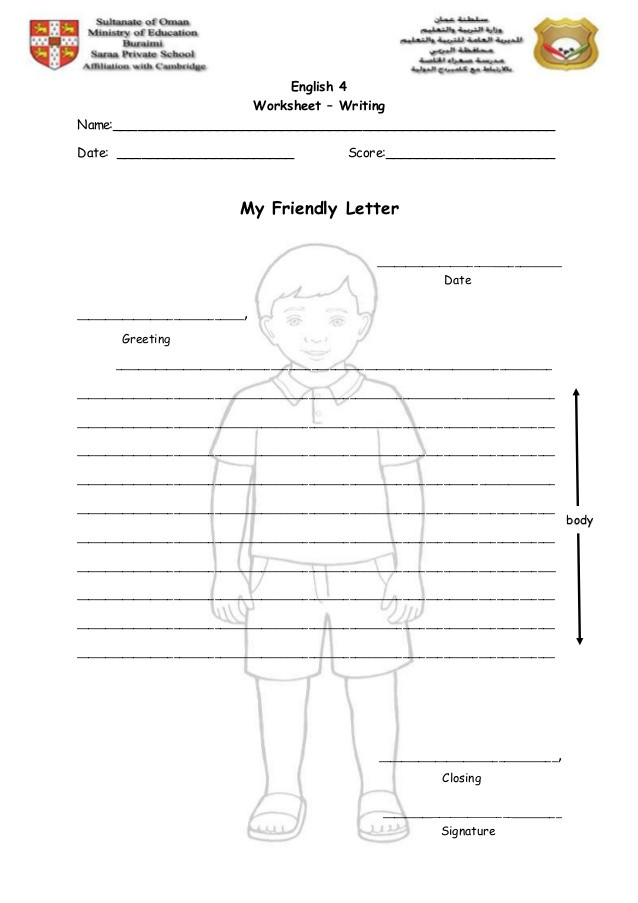 Writing Friendly Letter Worksheets Writing Worksheet My Friendly Letter