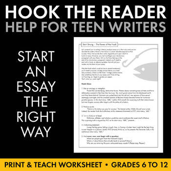 Writing Good Hooks Worksheet Hook the Reader with Strong Introductory Paragraph Launch Hooks Writing Help