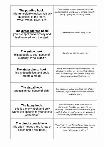 Writing Good Hooks Worksheet Writing Good Hooks Worksheet Awesome Narrative Hooks by