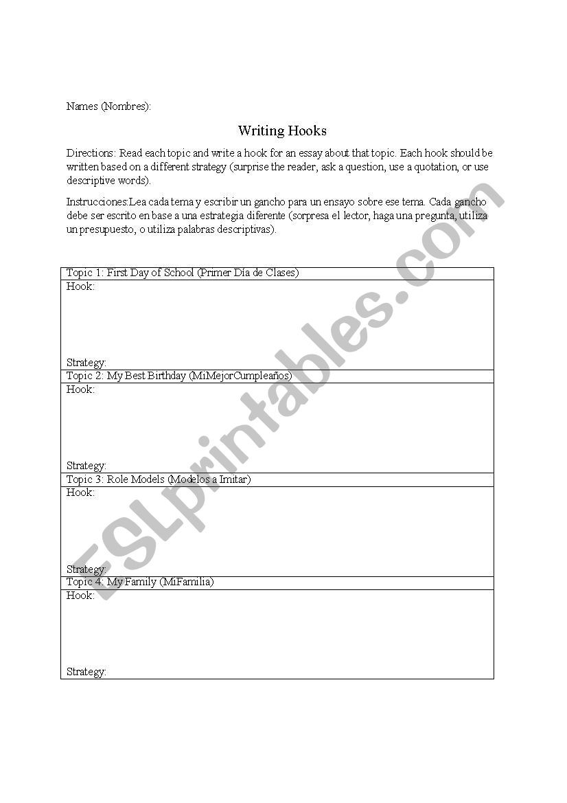 Writing Good Hooks Worksheet Writing Hooks Esl Worksheet by Caitop