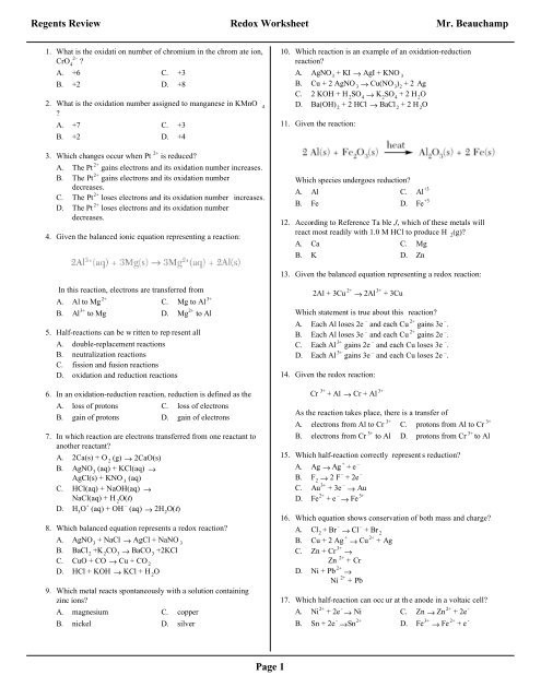 the redox regents review worksheet