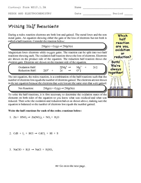 Writing Half Reactions Worksheet for 9th 12th Grade