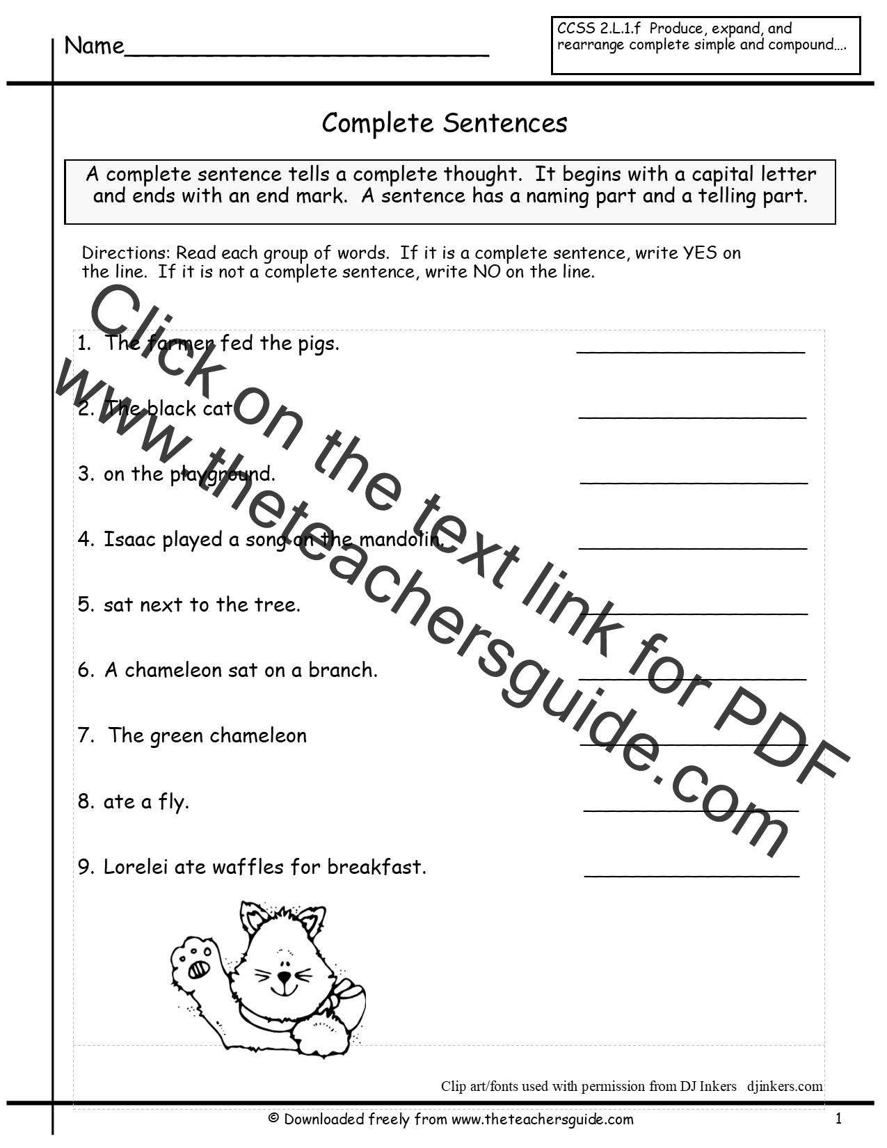 Writing In Complete Sentences Worksheet Free Writing and Language Arts From the Teacher S Guide