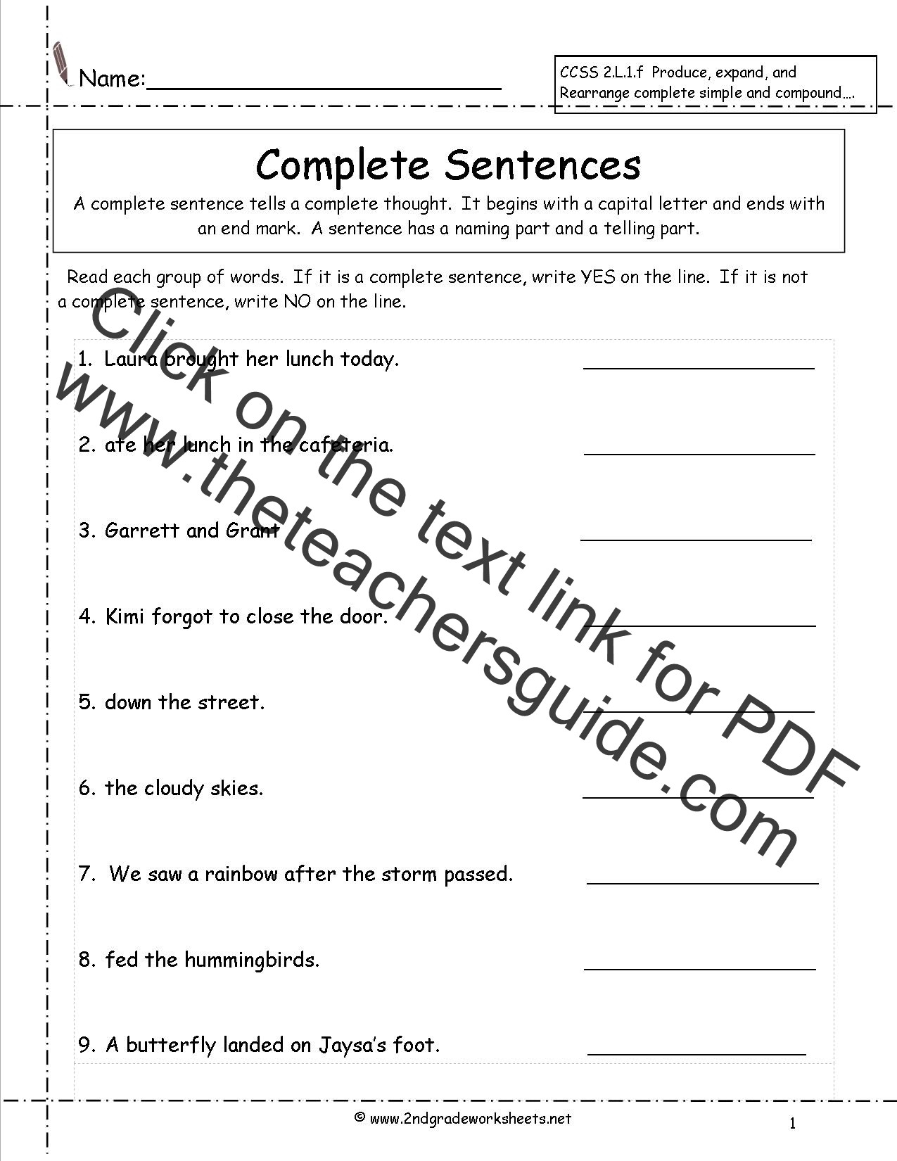 Writing In Complete Sentences Worksheet Second Grade Sentences Worksheets Ccss 2 L 1 F Worksheets