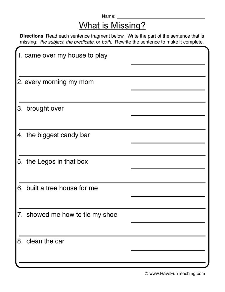 Writing In Complete Sentences Worksheet What is Missing Plete In Plete Sentences Worksheet