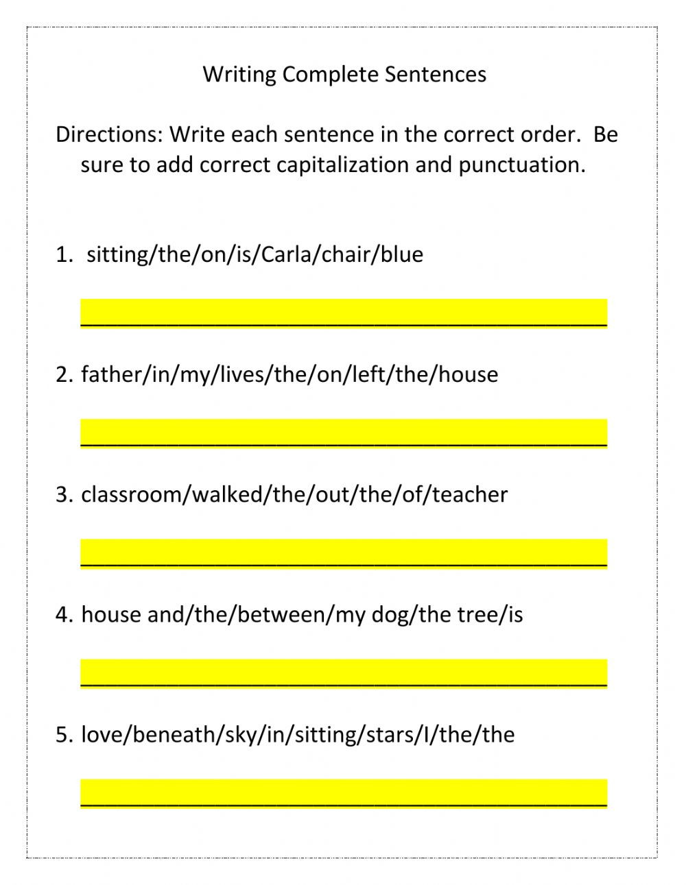 Writing In Complete Sentences Worksheet Writing Plete Sentences Worksheet