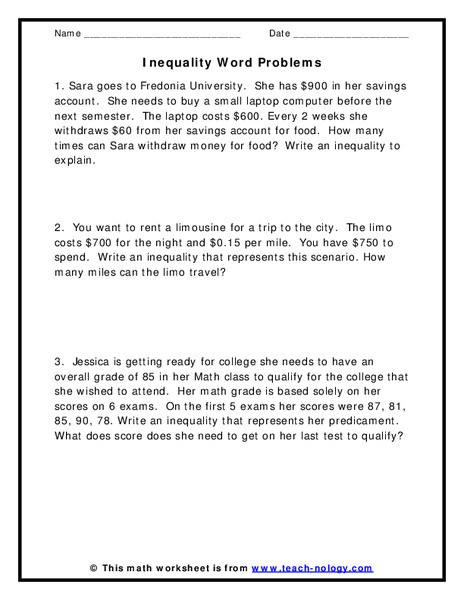 inequality word problems 6th 9th
