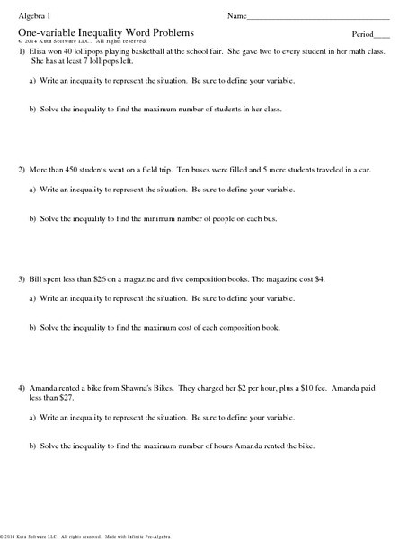 Writing Inequalities Worksheet Answers E Variable Inequalities Word Problems Worksheet