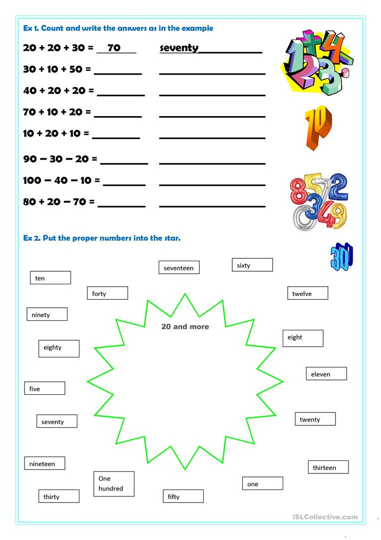 Writing Numbers to 100 Worksheet Numbers 20 100 English Esl Worksheets for Distance