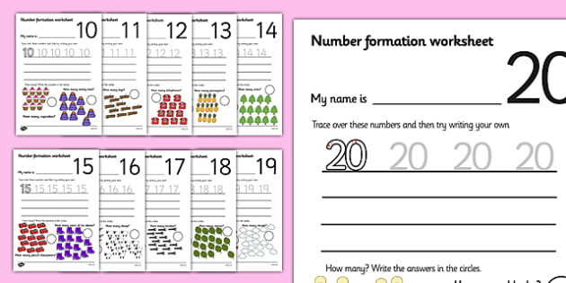 Writing Numbers to 20 Worksheets Free Number formation Worksheets 10 20 Teacher Made