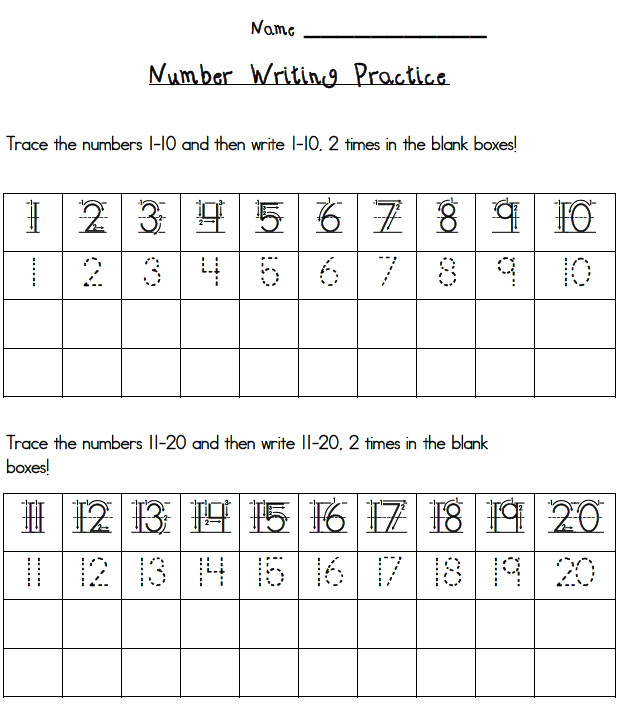 Writing Numbers to 20 Worksheets Number Writing Lessons Tes Teach Practice Worksheets