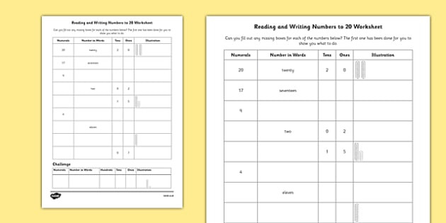 Writing Numbers to 20 Worksheets Reading and Writing Numbers to 20 Worksheet Twinkl