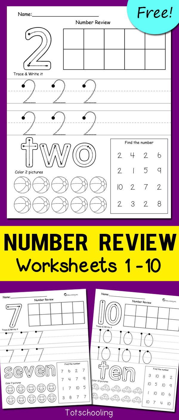 Writing Numbers Worksheet 1 10 Number Review Worksheets