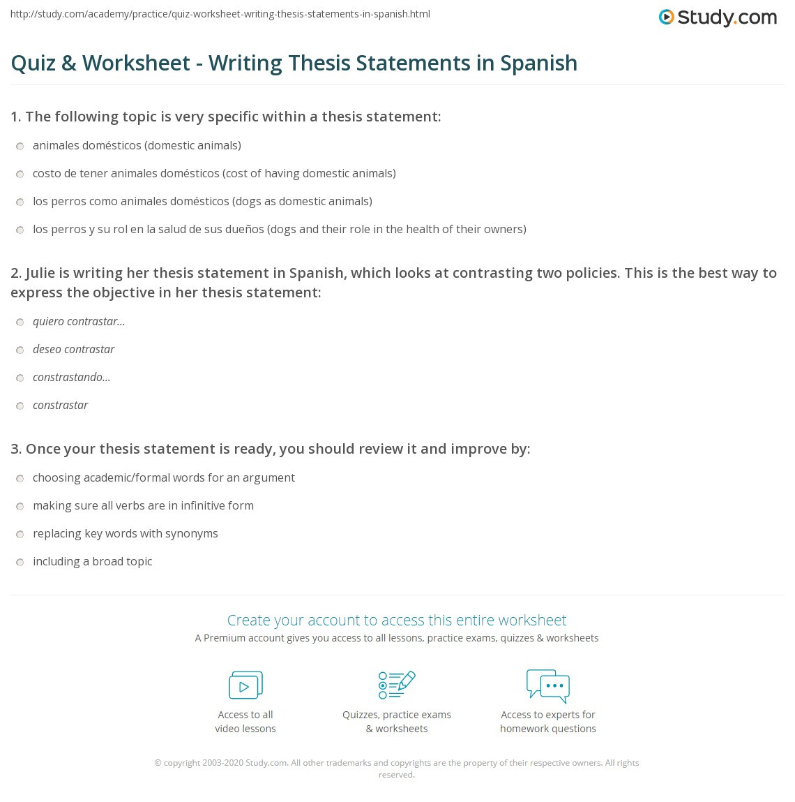 quiz worksheet writing thesis statements in spanish
