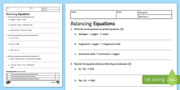 Writing Word Equations Worksheet Ks3 Balancing Chemical Equations Worksheet